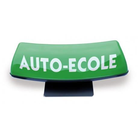 Panneau de toit Auto-Ecole courbé fond vert - écriture blanche (non lumineux)