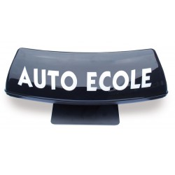 Panneau de toit Auto-Ecole courbé fond noir - écriture blanche (non lumineux)