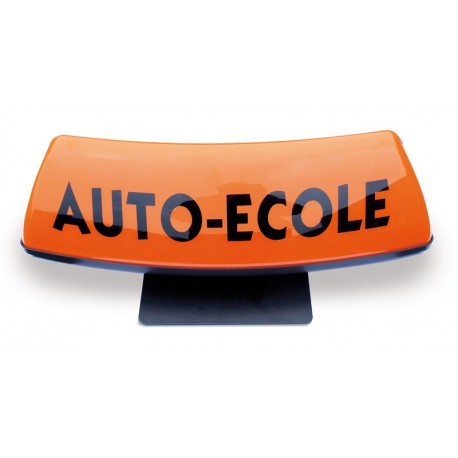 Panneau de toit Auto-Ecole courbé fond orange - écriture blanche (non lumineux)