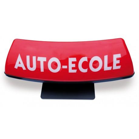 Panneau de toit Auto-Ecole courbé fond rouge - écriture blanche (non lumineux)