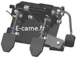 système de double commande à pédales par câbles flexibles pour véhicule
